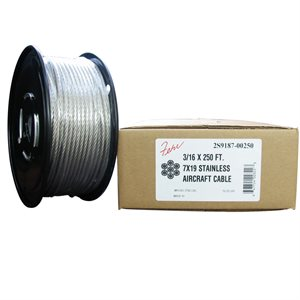 5 / 32 X 250 FT, 7X19 Stainless Steel Aircraft Cable