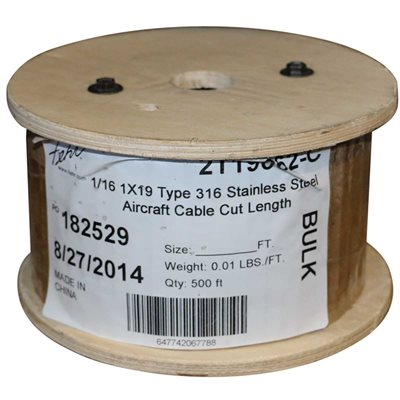 1 / 8 X 250 FT 1X19 Type 316 Stainless Steel Aircraft Cable
