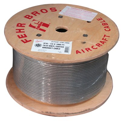 1 / 8 X 5000 FT 1X19 Galvanized Aircraft Cable